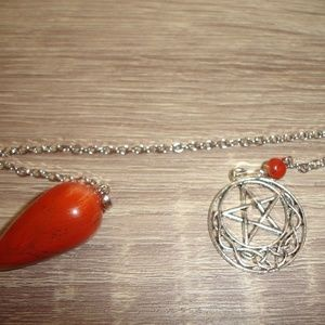 Fancy Red Jasper Pendulum with Pentagram